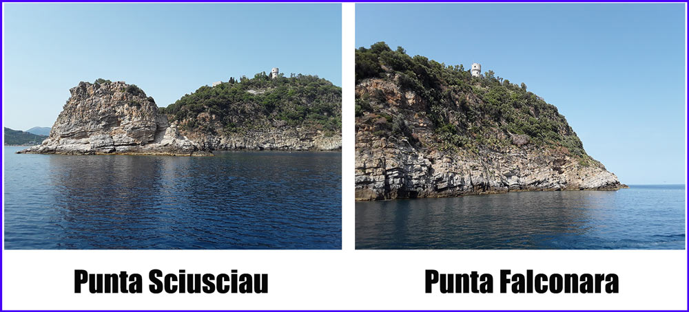 Foto della Punta Sciausciu e della punta Falconara dell'isola Gallinara